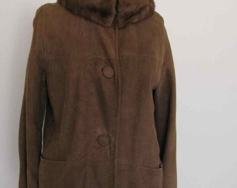 The Audrey Vintage 1960s Softest Suede and Mink Traveling Coat
