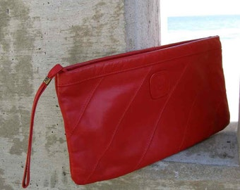 Blood Red Sun Vintage 1980s Leather Clutch
