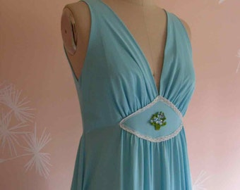 Baby Blue Goddess Vintage 1970s Nightgown