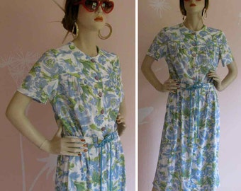 Blue Roses Vintage 1960s Day Dress Very Mad Men