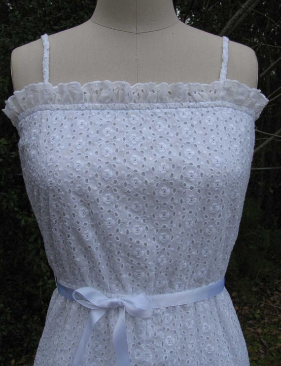 Endless Summer Vintage 1970s White Cotton Eyelet Wedding Dress