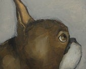 BOSTON TERRIER PROFILE - Giclee print from my original oil painting - Dog Puppy Art