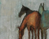 WINTER GRAZE -  8 x 10 Abstract Giclee print from my original oil painting - Horse Art
