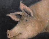 PIG PROFILE ART Giclee print from my original oil painting