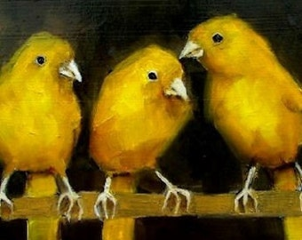 THREE CANARIES CANARY  - Giclee print from my original oil painting - Bird Art