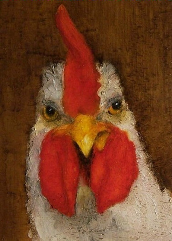The Rooster  - ACEO - Giclee print from my original oil painting - Bird Farm Folk Art