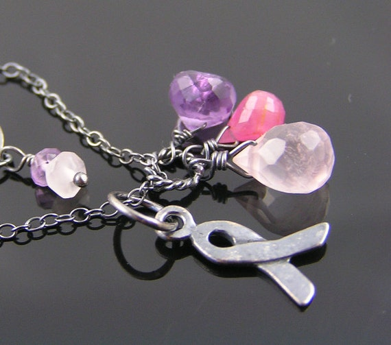 Pink Ribbon and Pink Gemstone Necklace, Sapphire, Amethyst, Rose Quartz, Sterling Silver