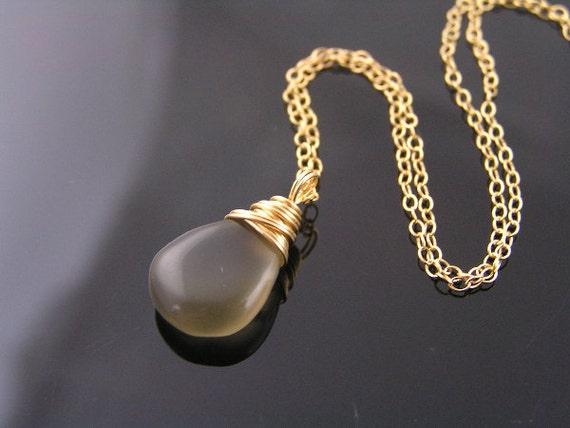 Gray Moonstone Necklace, 14K gold filled, Moonstone Gold Necklace, Reduced Price, SALE