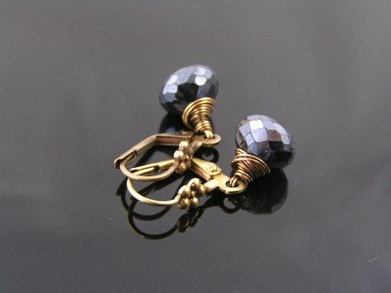 Mystic Black Spinel Earrings, Flower Leverback Ear Wires, Black Gemstone Jewelry