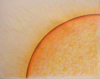 Glowing Sun ACEO print from original color pencil drawing