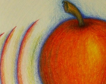 Action Apple ACEO Print from Original Colored Pencil Drawing