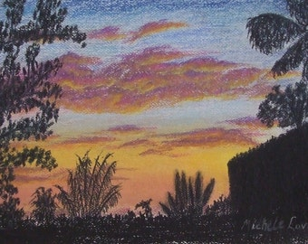 Sunset Over the Inlet ACEO print from Original Dry Pastel Drawing