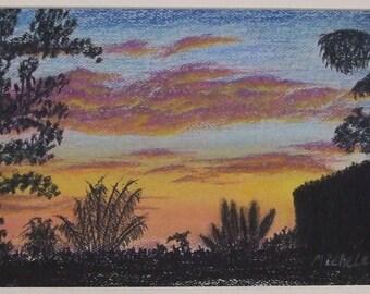 The Sunset on the Kenai Original Pastel