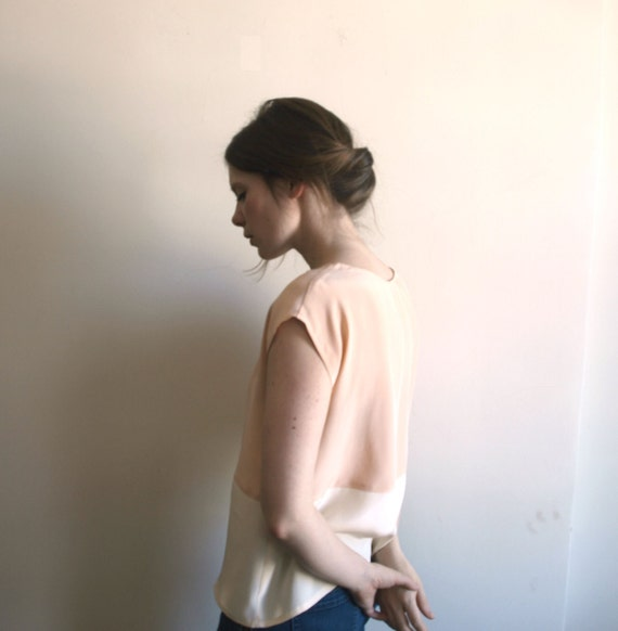 Petal and Cream Color Block Blouse - Handmade