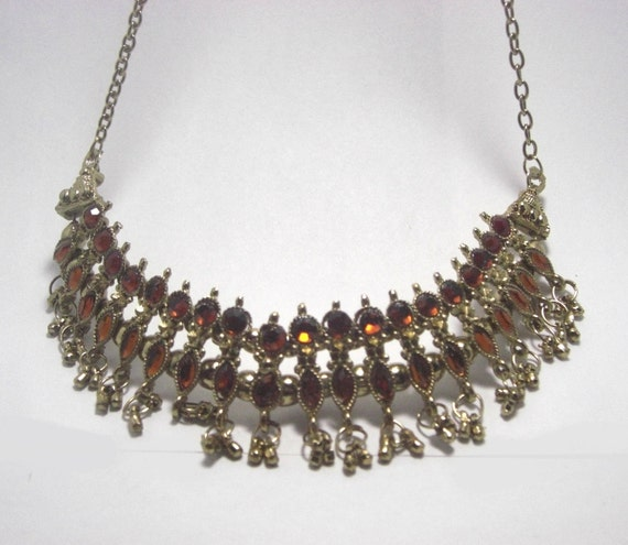 Vintage Chic Golden Indian Tribal Necklace on a gold plate chain