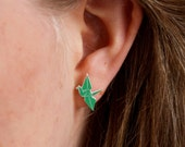Green Origami Crane Stud Earrings - laser cut acrylic paper crane bird surgical steel studs