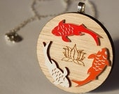 Wooden Red, Orange, White Japanese Koi Fish Necklace - laser cut tasmanian oak timber and acrylic pendant with sterling silver chain