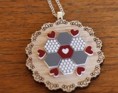 Grey and Maroon Patchwork Doily Necklace - Laser cut Tasmanian Oak Timber Wood, Acrylic hexagon, geometric, vintage, sterling silver chain