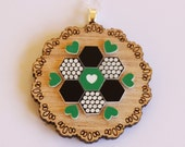 Green and Black Patchwork Wooden Doily Necklace, Tasmanian oak timber wood and acrylic folk art vintage design pendant sterling silver chain