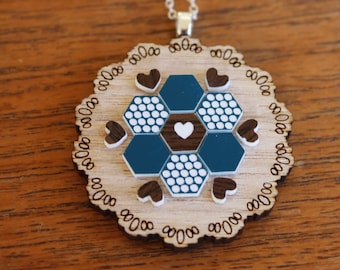 Teal and Brown Patchwork Doily Necklace - Laser cut Tasmanian Oak Timber Wood, Acrylic hexagon, geometric, vintage, sterling silver chain