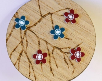 Wooden Teal and Maroon Flower Tree Brooch - Tasmanian Oak Timber Wood and Acrylic Japanese Blossom Floral Design