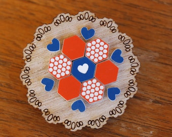 Orange and Blue Patchwork Doily Brooch - laser cut Tasmanian Oak Timber Wood, Acrylic hexagon, geometric, heart, vintage design, pin