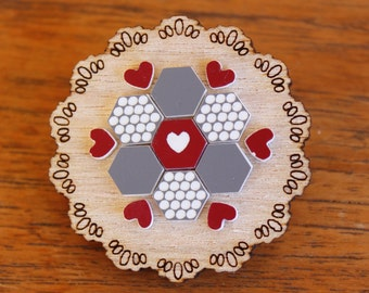 Grey and Maroon Patchwork Doily Brooch - laser cut Tasmanian Oak Timber Wood, Acrylic hexagon, geometric, heart, vintage design, pin