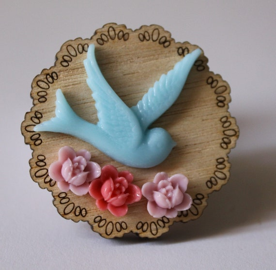 Bluebird and Blossoms Brooch SALE