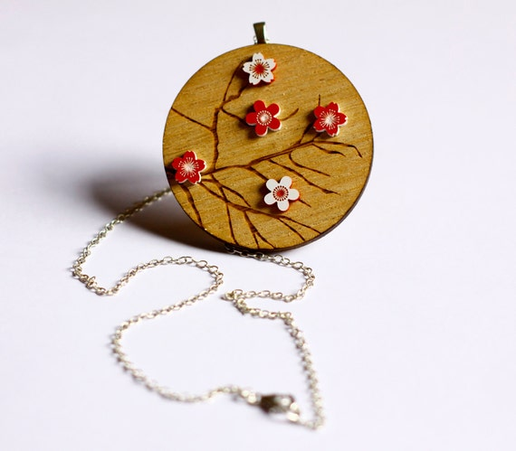 Wooden Red and White Cherry Blossom Necklace - laser cut Tasmanian oak timber wood and acrylic  Japanese style floral and tree branches pin
