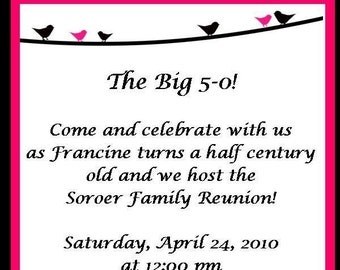 Pink and Black Birds on a Vine Invitations