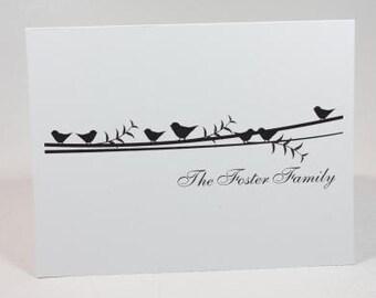 Birds on a Vine Personalized Stationery Set (Set of 10 Folded Cards)