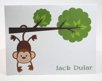 Monkey Hanging from a Tree Personalized Stationery (Set of 10 folded notes)