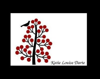 REDUCED Gorgeous Berry Tree with Bird Personalized Stationery (set of 10 folded notes)