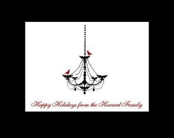 REDUCED Winter Chandelier with Red Birds Personalized Stationery (set of 10 folded notes)