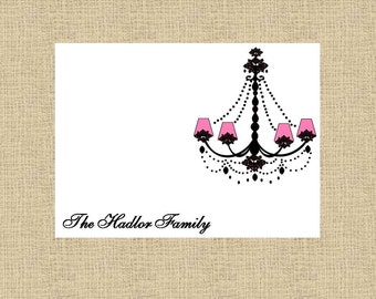 Gorgeous Pink Chandelier Personalized Stationery (Set of 10 folded notes)