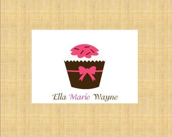 Pink and Brown Cupcake with Bow Personalized Stationery (set of 10 folded cards)