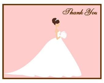 Bridal Silhouette Thank You Cards (set of 10 folded notes)