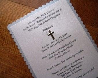 Silver Baptism Invitations