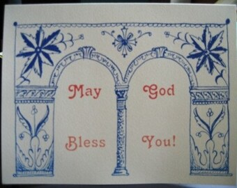 Beautiful Greeting Cards with Columns and Flowery Embellishments