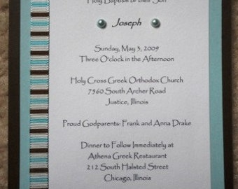 Blue, Brown and White Invitations
