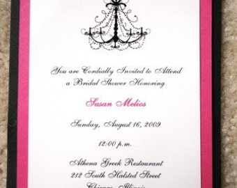 Elegant Chandelier Hot Pink and Black Invitations for Announcements