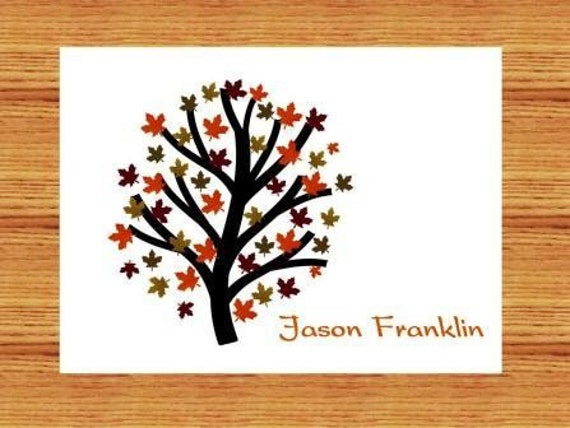 Autumn Tree Personalized Stationery Set (set of 10 folded cards)
