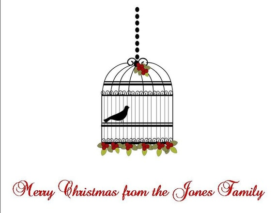 REDUCED Winter Birdcage Personalized Stationery (Set of 10 folded cards)