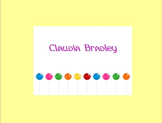 Lollipop Personalized Stationery (set of 10 folded notes)