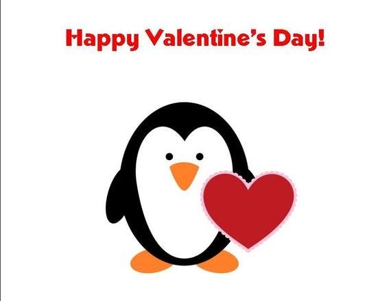 Penguin Valentine's Day Cards (set of 10 folded notes)