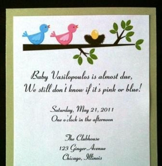 Handmade Baby Shower Invitations with birds, nest, and egg