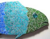 BIG Fish Mosaic Wall Hanging, Mosaic Art, Blue Green Fish