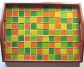 Mosaic Serving Tray, Citrus Orange Lemon Lime Tray, Wood Tray, OOAK Tray, Orange Green Yellow Mosaic Tile Tray, Mosaic Serving Tray