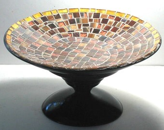 Mosaic Centerpiece, Copper Metallic Dessert Stand, Mosaic Centerpiece, Gold Brown Bronze Mosaic Centerpiece, Pedestal Dish, Mosaic Display