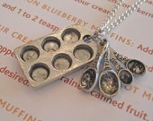 Food Jewelry, Cupcake Muffin Pan and Measuring Spoons Necklace, Baker's Charms, Culinary Necklace